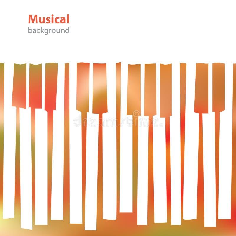抽象音乐钢琴锁上-名片-空白的背景 皇族释放例证