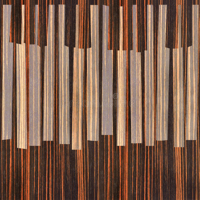 抽象音乐钢琴锁上-无缝的背景-乌木木头 皇族释放例证
