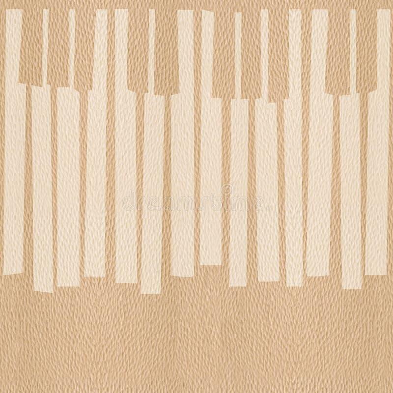 抽象音乐钢琴锁上-无缝的背景-白栎木 向量例证