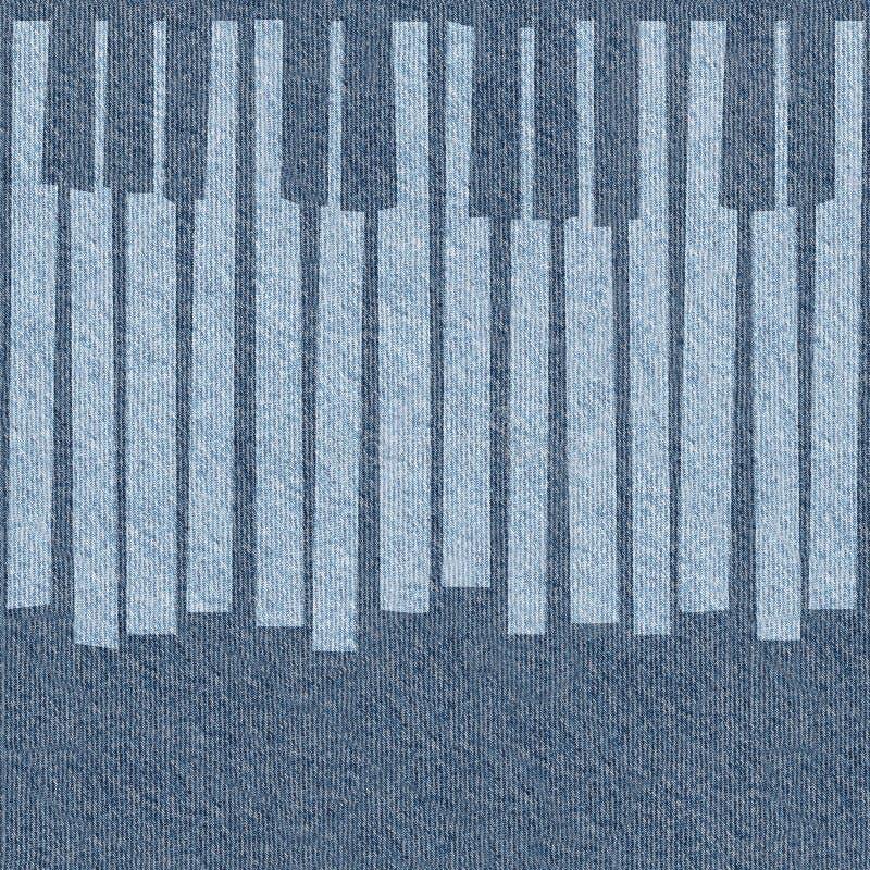 抽象音乐钢琴锁上-无缝的背景-蓝色牛仔裤 库存例证
