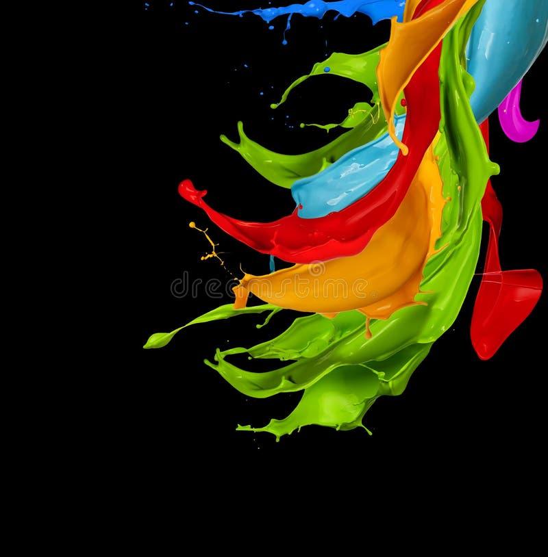 抽象颜色在黑背景飞溅 皇族释放例证