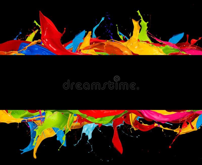 抽象颜色在黑色飞溅条纹 库存例证