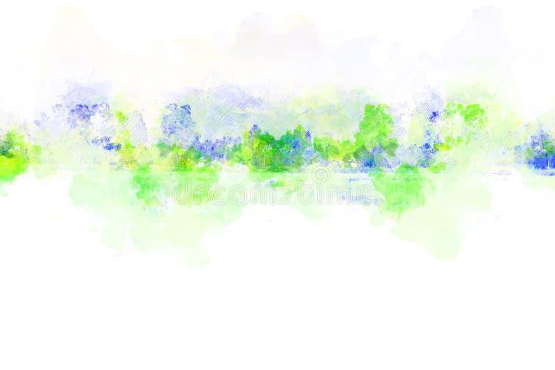 抽象颜色山峰和海水水彩例证绘画 向量例证