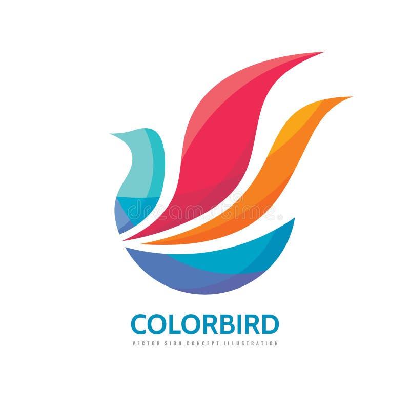 抽象颜色鸟-导航商标模板概念例证 飞过创造性签到乐观样式 正面设计元素 向量例证