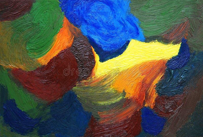 抽象颜色绘画 在画布的油 皇族释放例证