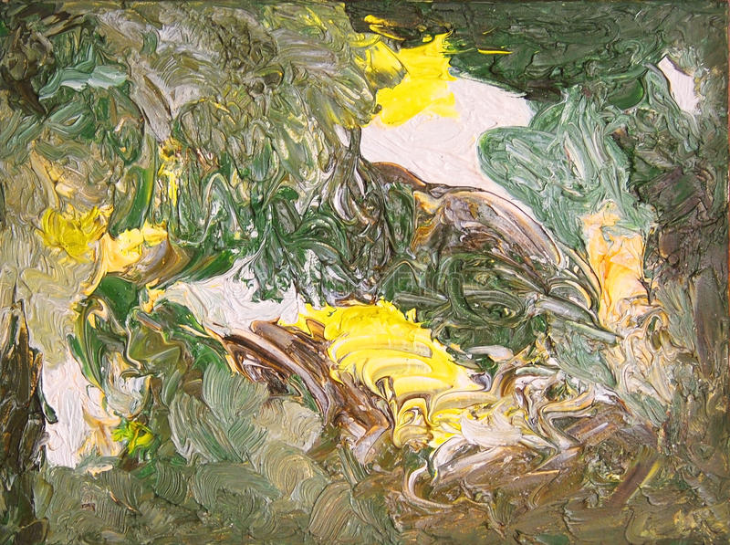 抽象颜色绘画 在画布的油 库存例证