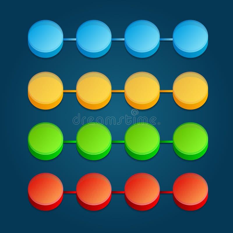 抽象颜色3D数字式例证Infographic 皇族释放例证
