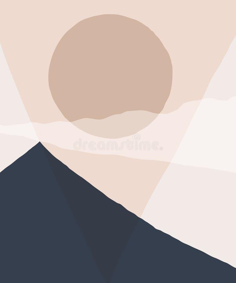 抽象风景背景 山天空和太阳几何构成剪影  风景海报在灰棕色的 向量例证