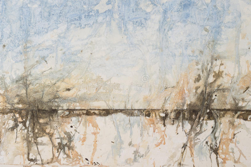 抽象风景水彩背景 库存例证