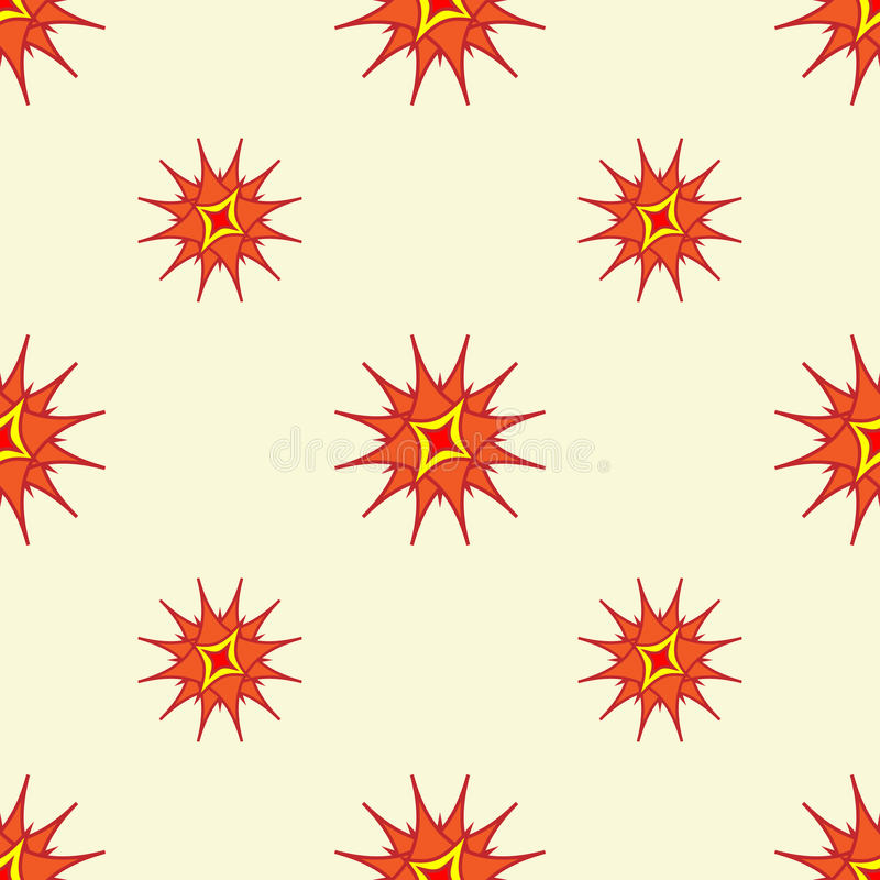 抽象风格化星背景 重复在明亮的温暖的颜色的几何样式 皇族释放例证