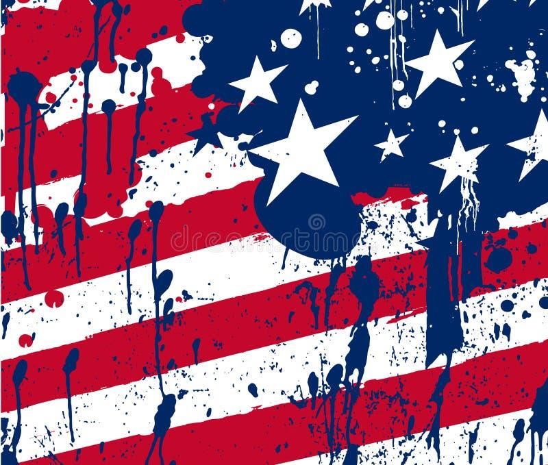 抽象飞溅背景美国旗子 皇族释放例证