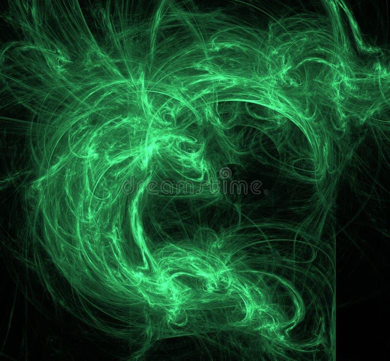抽象飞碟绿色分数维背景 幻想分数维纹理 abstact艺术深深数字式红色转动 3d翻译 计算机生成的图象 库存例证