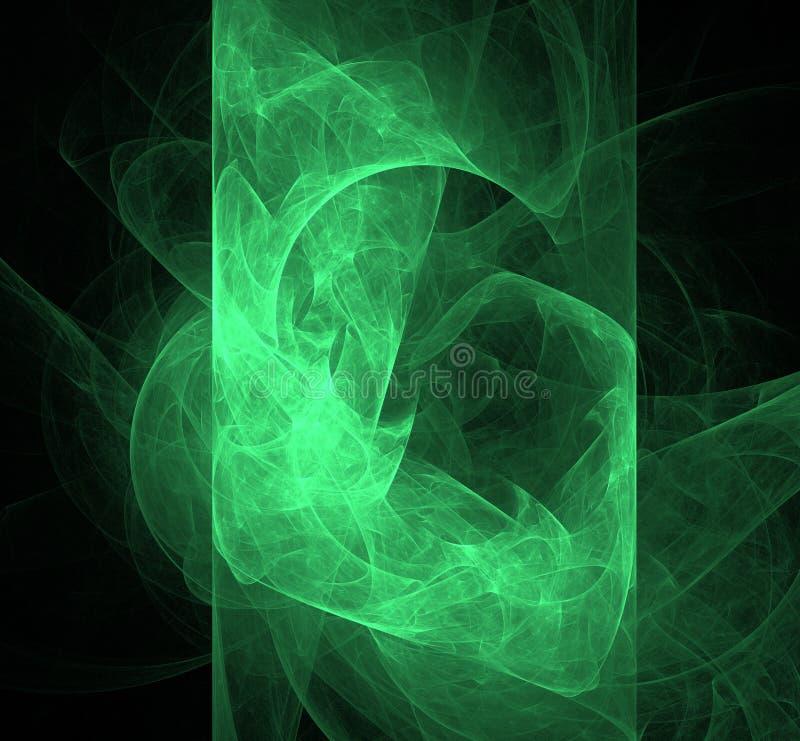 抽象飞碟绿色分数维背景 幻想分数维纹理 abstact艺术深深数字式红色转动 3d翻译 计算机生成的图象 向量例证