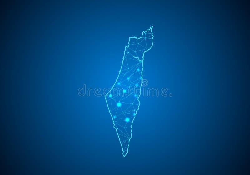抽象饲料线和分数量表在黑暗的背景与以色列的地图 皇族释放例证