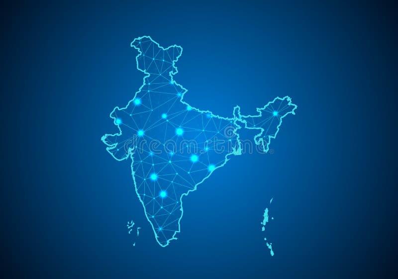 抽象饲料线和分数量表在黑暗的背景与印度的地图 库存例证