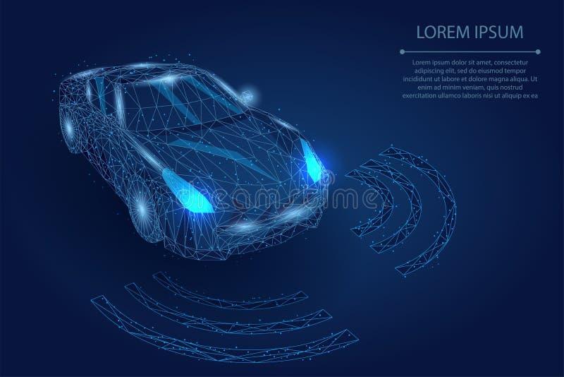 抽象饲料线和点高速行动汽车自动驾驶仪司机自动化概念 库存例证