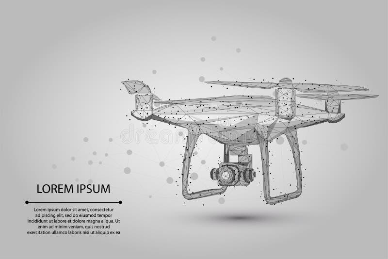 抽象饲料线和点Quadrocopter 多角形低多3D飞行寄生虫 皇族释放例证