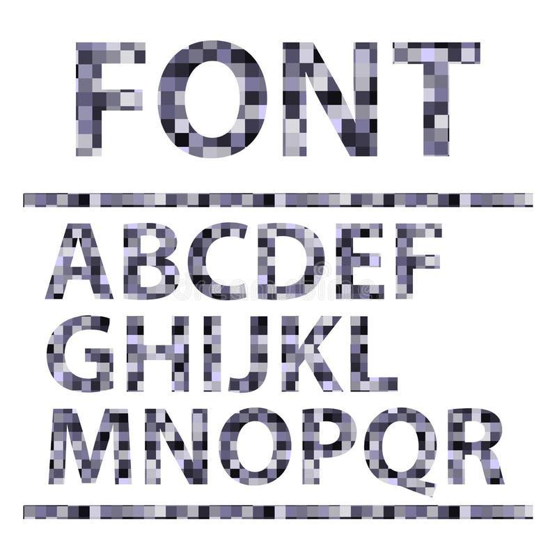 抽象马赛克字母表集合。字体。传染媒介illust 皇族释放例证