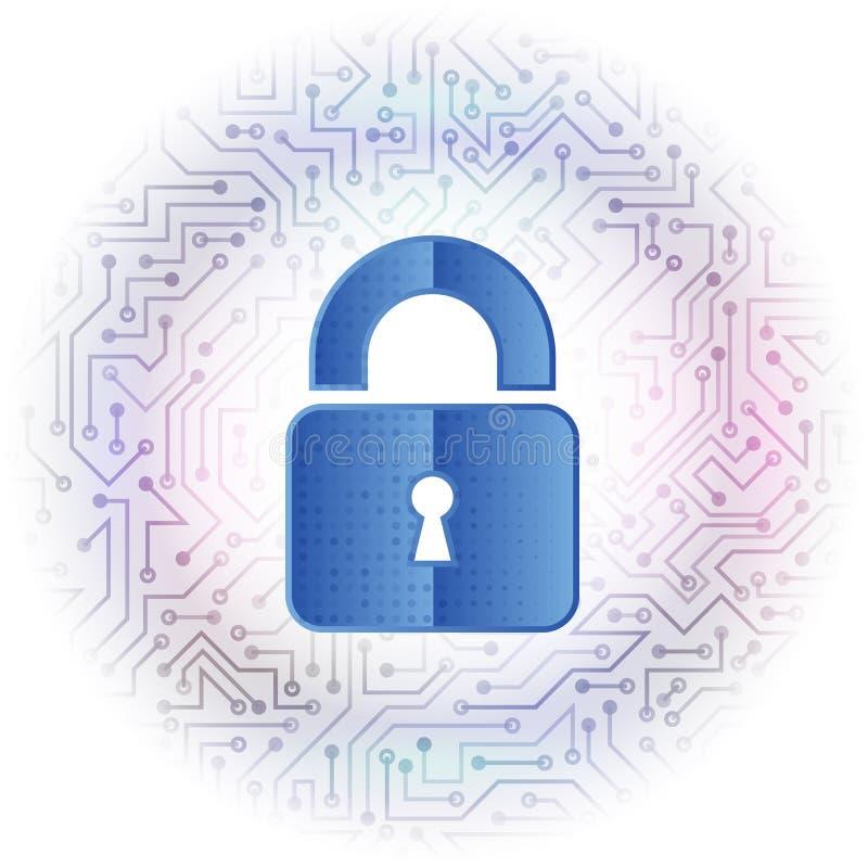 抽象高科技电路板 数字式挂锁传染媒介例证 向量例证