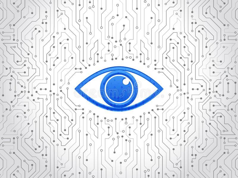 抽象高科技电路板 眼睛网络安全概念 皇族释放例证