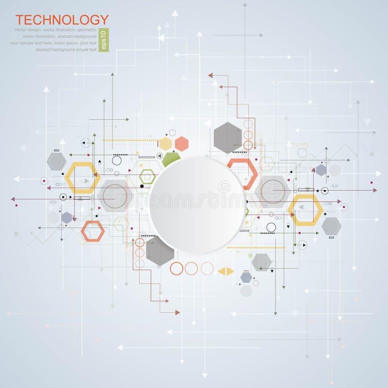 抽象高科技,设计,机器,技术概念 传染媒介抽象未来派技术背景 皇族释放例证