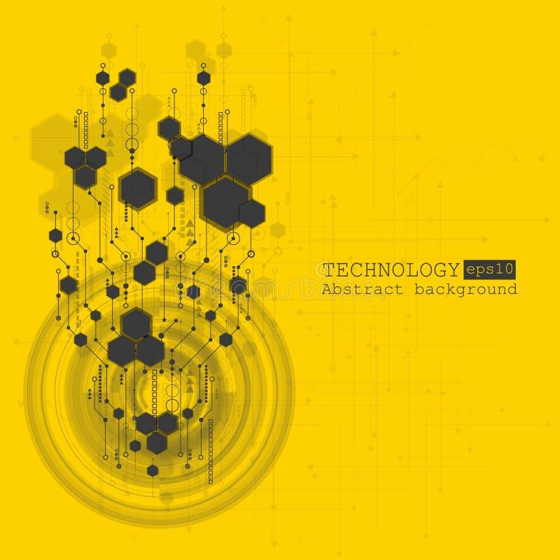 抽象高科技,设计,机器,技术概念 传染媒介抽象未来派技术背景 向量例证
