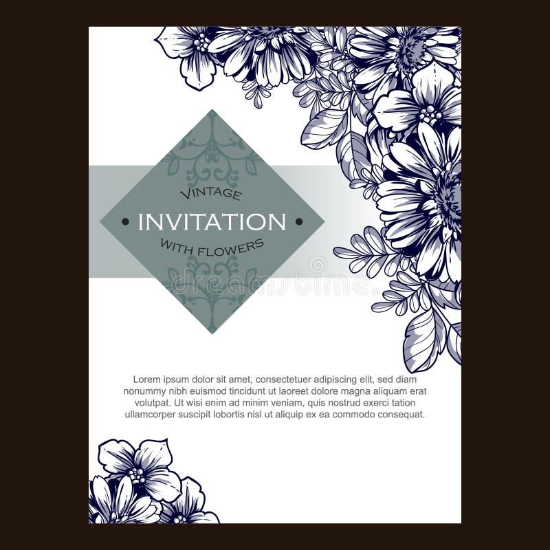 抽象高雅邀请有花卉背景 免版税库存照片