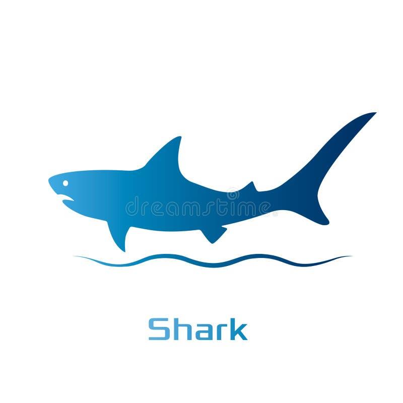 抽象鲨鱼剪影模板  网站设计的现代企业象 在一个平的样式的商标 r 向量例证