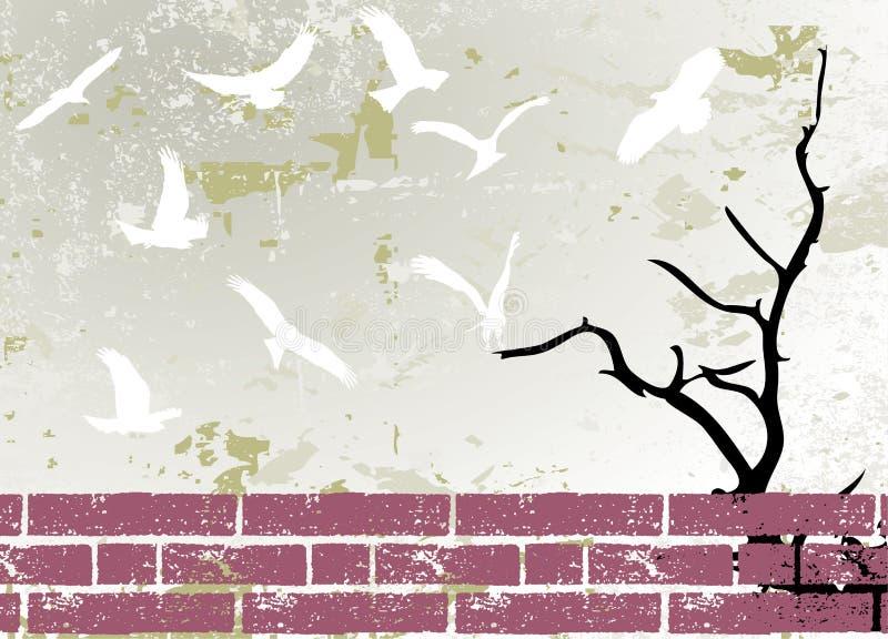 抽象鸟grunge光栅剪影结构树 向量例证