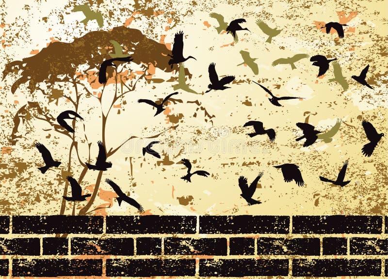 抽象鸟grunge光栅剪影结构树 库存例证