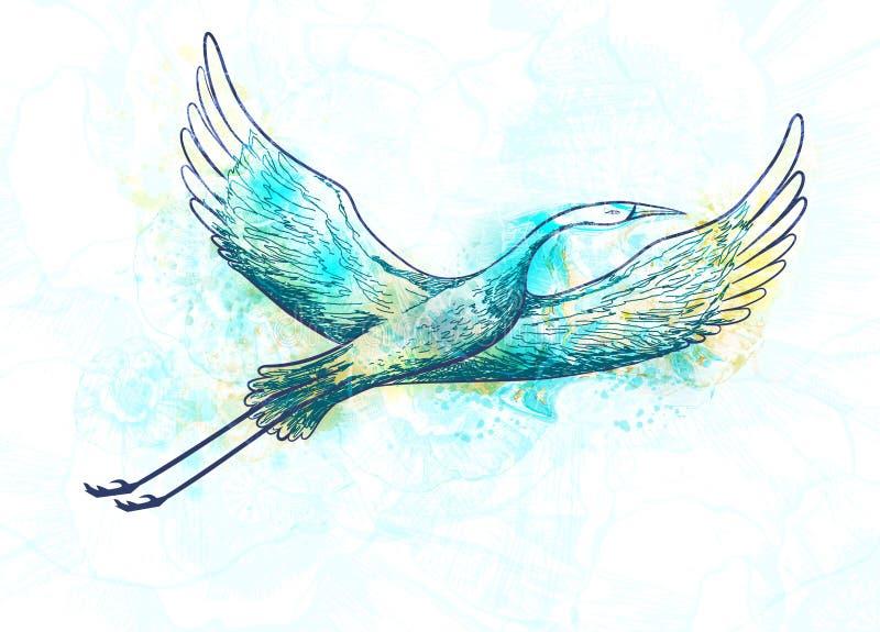 抽象鹳鸟飞行 向量例证, EPS10 皇族释放例证