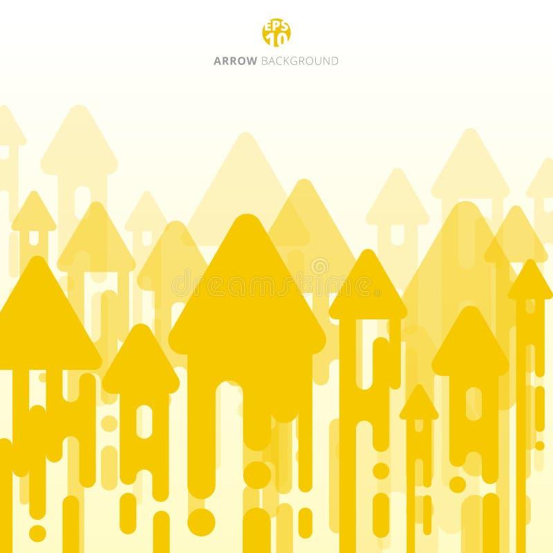 抽象黄色芥末环绕了与箭头transi的线中间影调 皇族释放例证