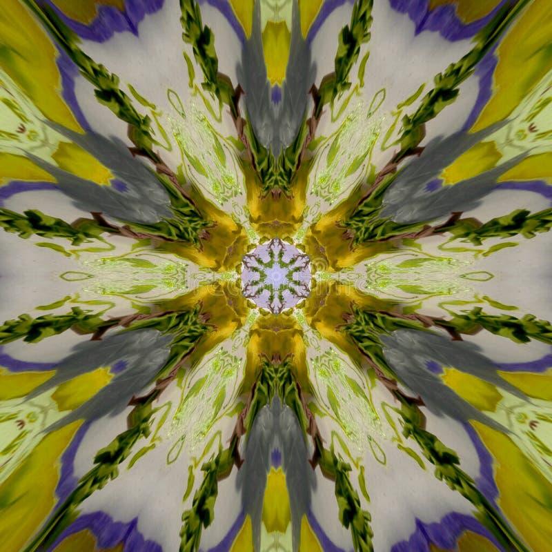 抽象黄色蓝色样式纹理,万花筒无缝的背景 向量例证