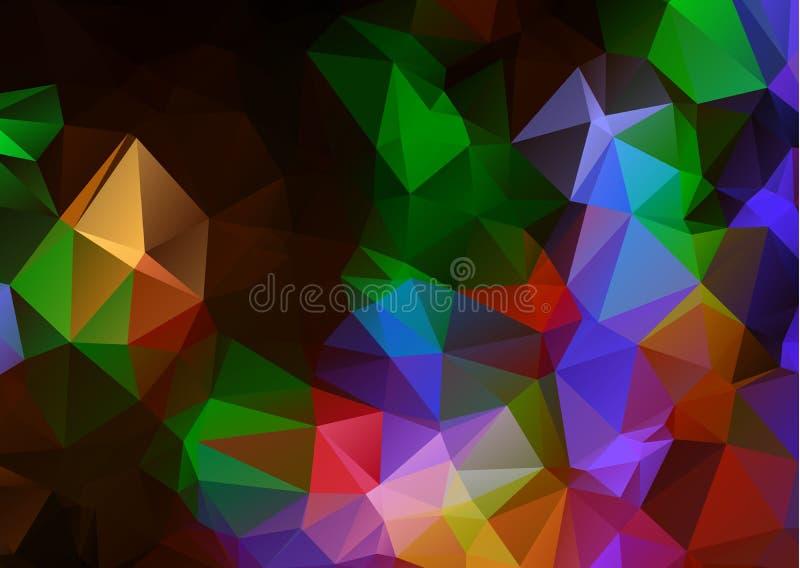 抽象黑暗的多色几何弄皱的三角低多origami样式梯度例证图表背景 多的传染媒介 皇族释放例证