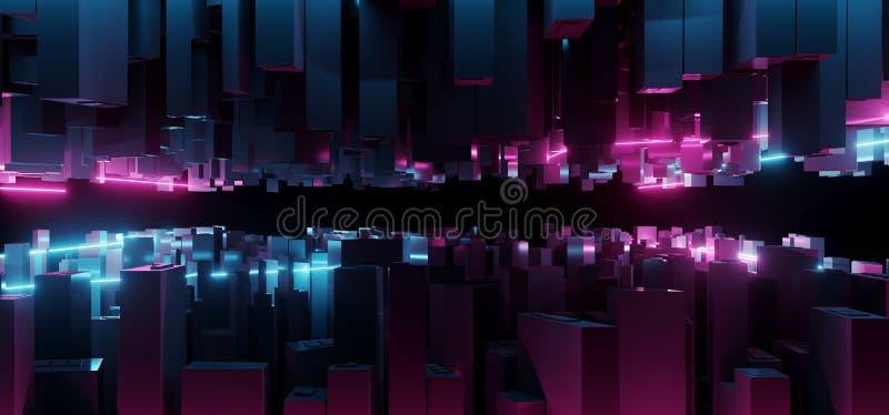 抽象黑暗的现代未来派科学幻想小说幻想蓝色和紫色L 皇族释放例证