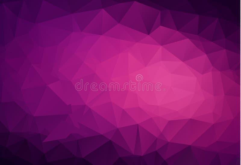 抽象黑暗的紫色,桃红色传染媒介低多水晶背景 多角形设计样式 低多例证,低多角形backgro 皇族释放例证