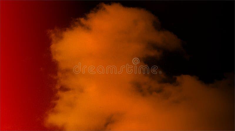 抽象黑橘黄色混合物多颜色作用发烟性雾背景 免版税库存照片