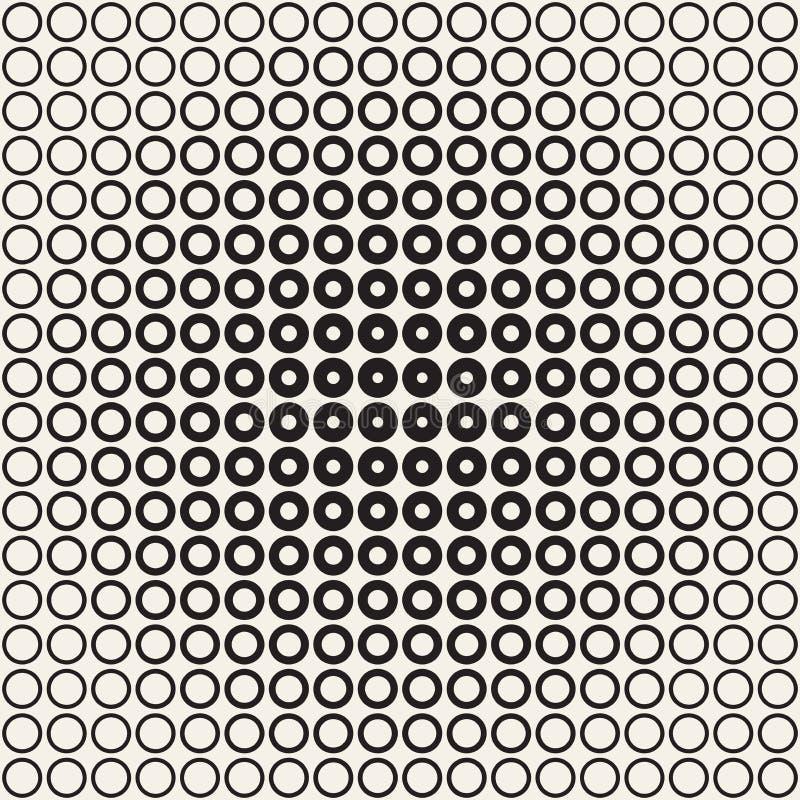 抽象黑白样式背景 无缝的几何圈子中间影调 时髦现代texturen 皇族释放例证