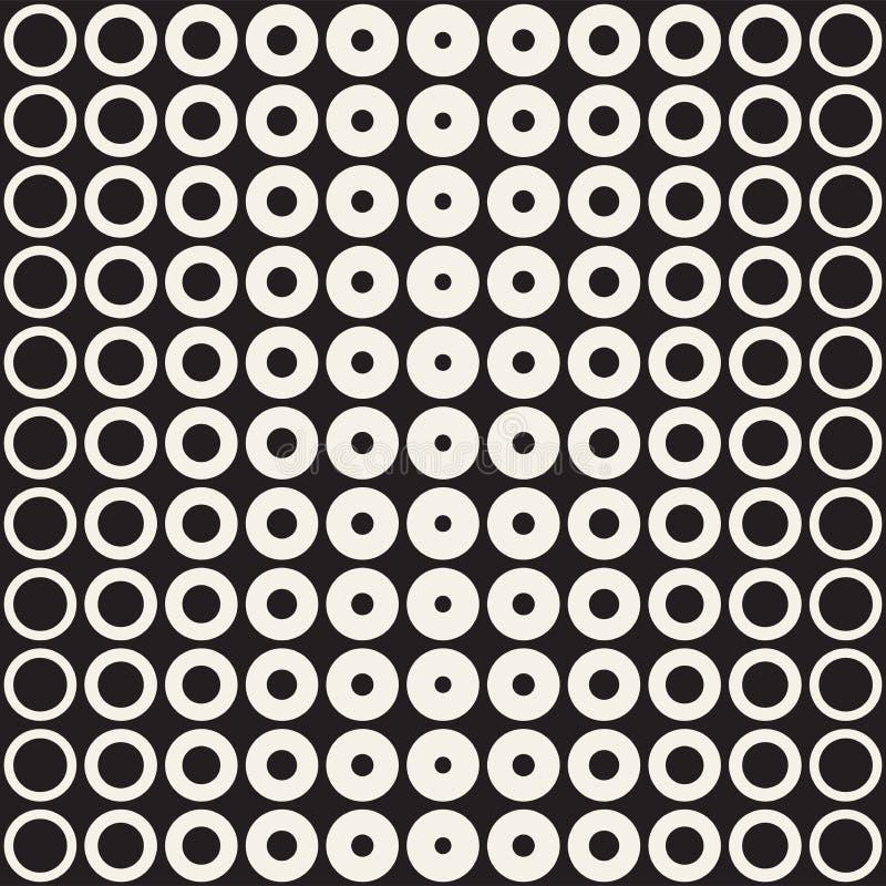 抽象黑白样式背景 无缝的几何圈子中间影调 时髦现代texturen 库存例证