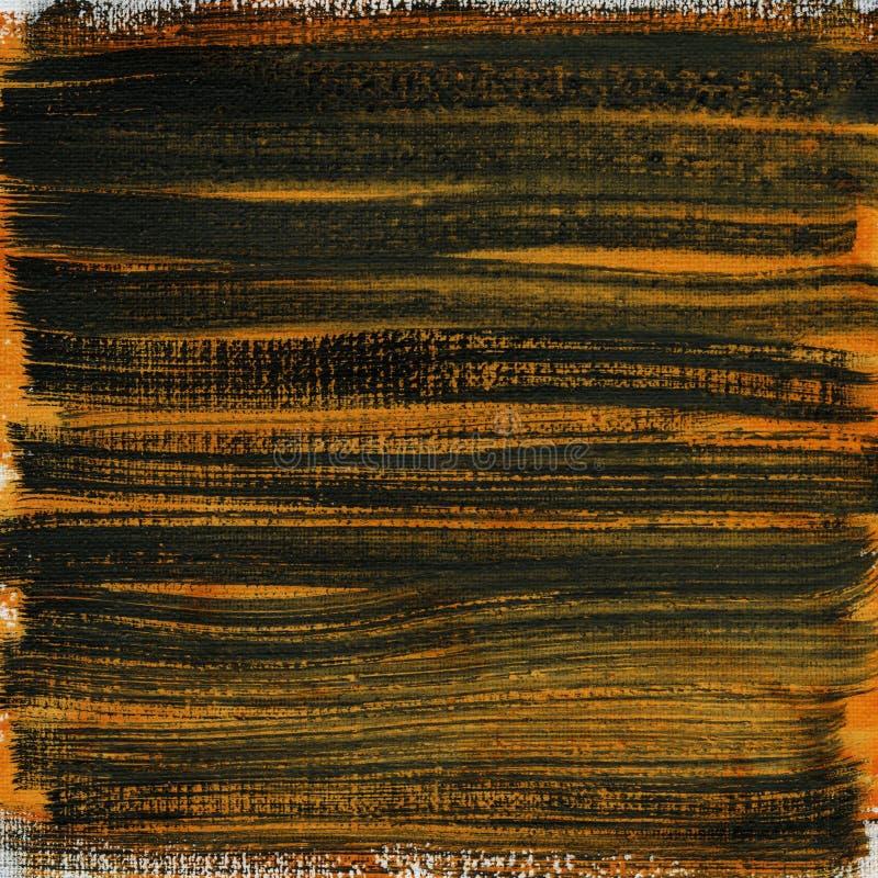 抽象黑色画布桔子水彩 库存图片