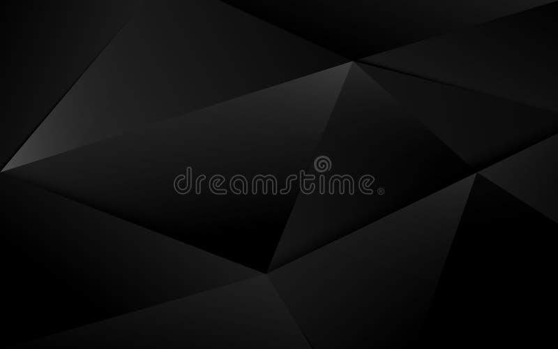 抽象黑3d混乱多角形表面背景 r 库存例证