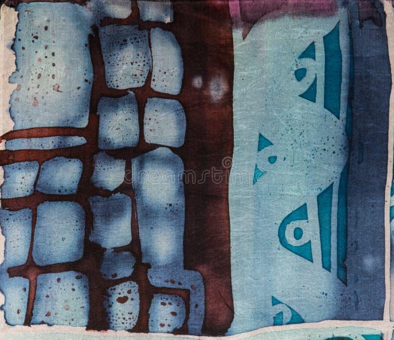 抽象,热的蜡染布,背景纹理,手工制造在丝绸,抽象超现实主义艺术 免版税库存照片