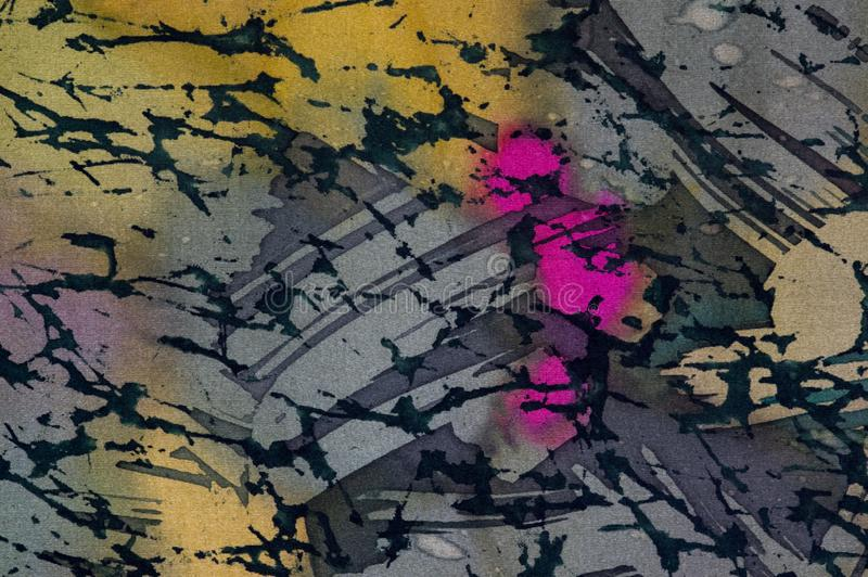 抽象,热的蜡染布,背景纹理,手工制造在丝绸 向量例证