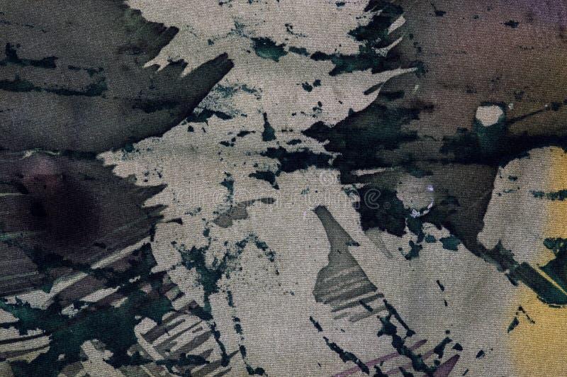 抽象,热的蜡染布,背景纹理,手工制造在丝绸 库存例证