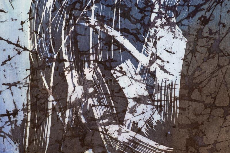 抽象,片段,热的蜡染布,在丝绸的手工制造艺术 向量例证