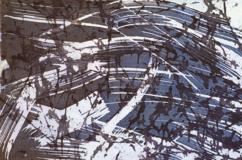 抽象,片段,热的蜡染布,在丝绸的手工制造艺术 库存例证
