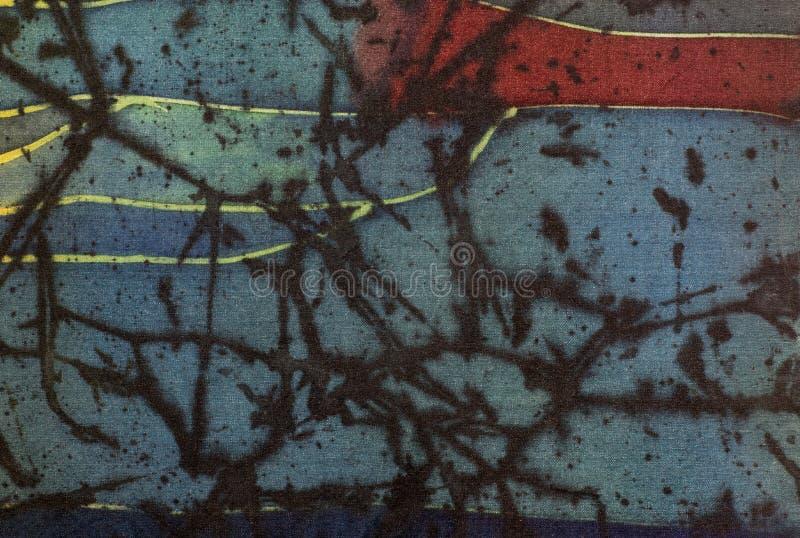 抽象,片段,热的蜡染布,在丝绸的手工制造艺术 皇族释放例证