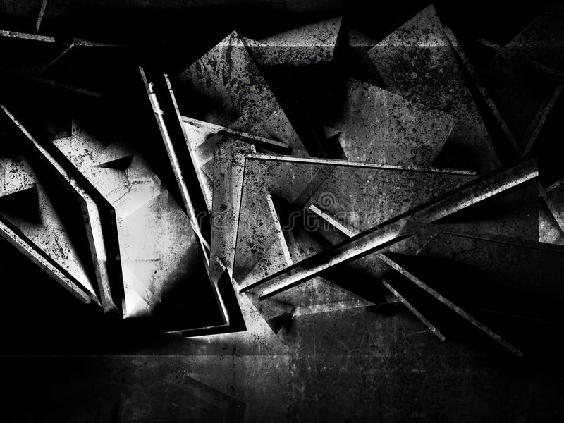 抽象黑几何背景3d 向量例证