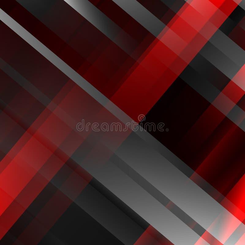 抽象黑和红色几何背景 现代重叠的小条 也corel凹道例证向量 皇族释放例证