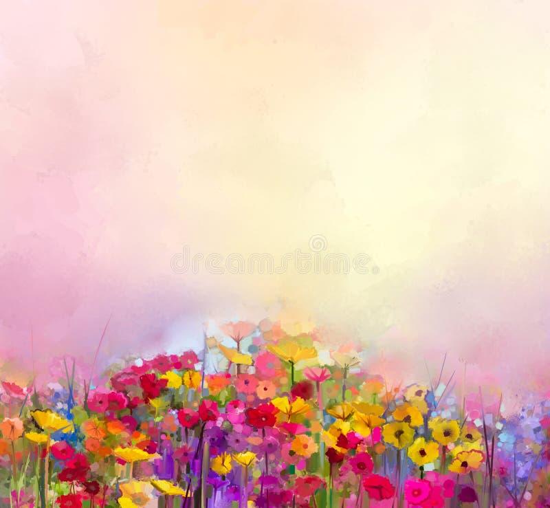 抽象派夏天春天花油画  草甸,与野花的风景 皇族释放例证